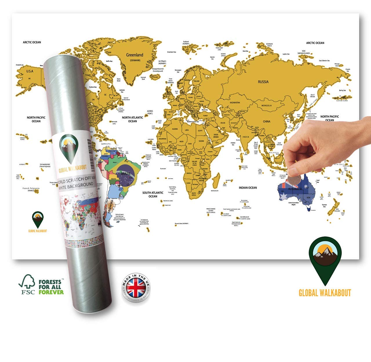 Global Walkabout Scratch Off World Map with Flags Background – Deluxe Travel Size World Map Poster – Countries and Facts – Travel Gift (White)