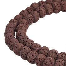 """NBEADS 2 Strands 104 Pcs 8mm Synthetical Lava Stone Gemstone Loose Beads, Coconut Brown Round Crystal Energy Stone Healing Power for Jewelry Making Findings, 1 Strand 15.5"""""""