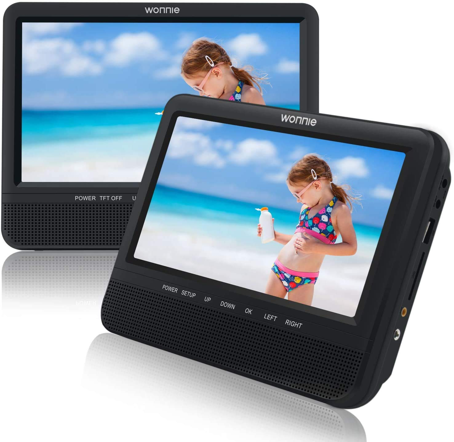 WONNIE 7.5'' Dual Screen DVD Player Portable Car Headrest Video Built-in 5 Hours Rechargeable Battery, Last Memory, Regions Free (Host DVD Player+ Slave Monitor)