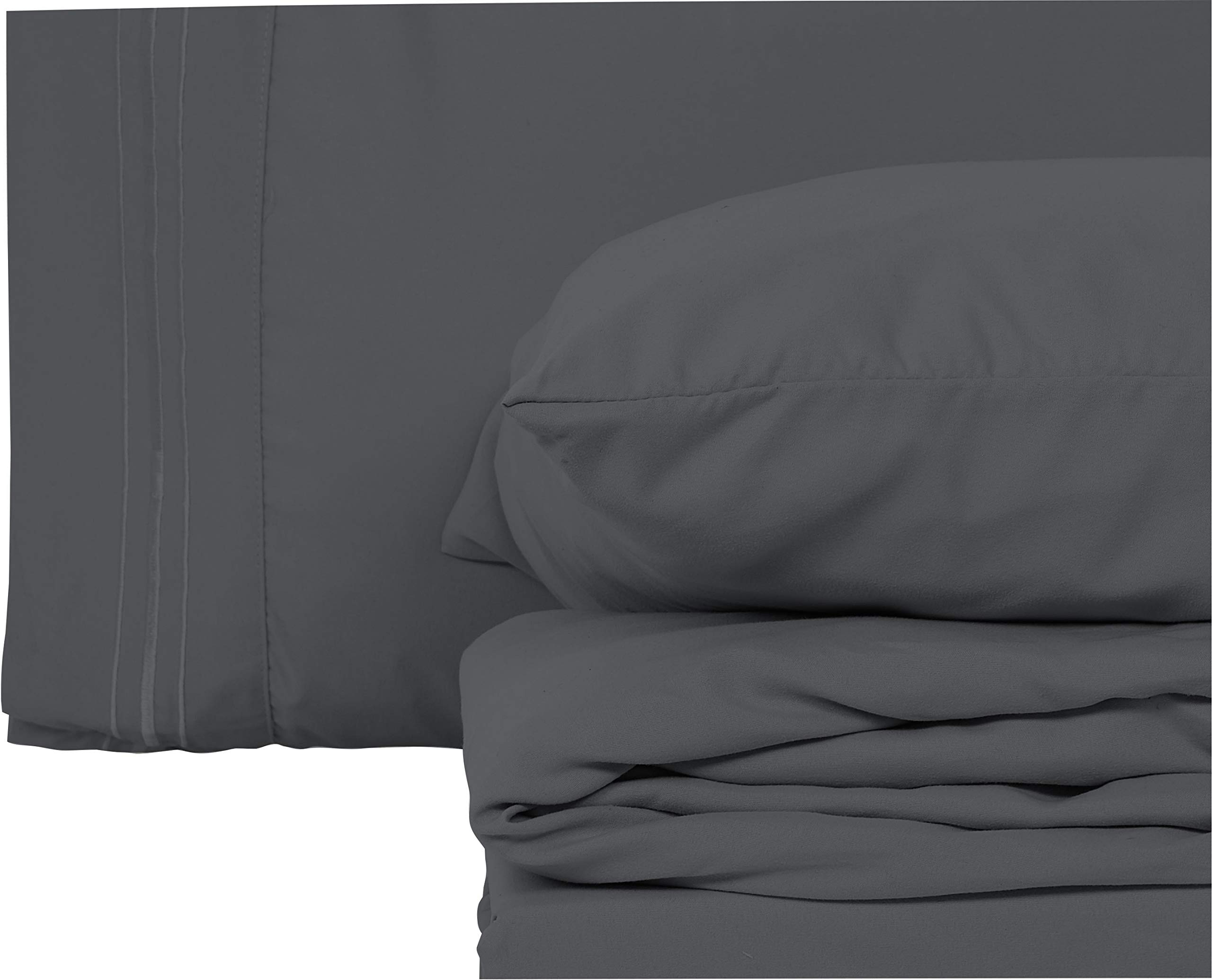 Style Basics Super Soft Brushed Microfiber Bed Sheet Set - 1800 Series Easy-Clean (Slate, Queen)