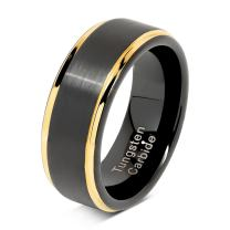 100S JEWELRY Engraved Personalized Black Tungsten Rings For Men Wedding Band Gold Step Edge Size 6-16