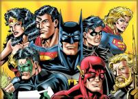 """Ata-Boy DC Comics Justice League on Gold 52 2.5"""" x 3.5"""" Magnet for Refrigerators and Lockers"""