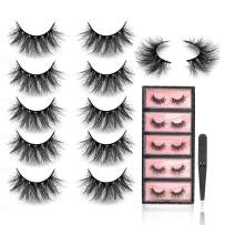SWINGINGHAIR 3D Mink Eyelashes 20mm Eyelashes Fluffy False Eyelashes Fake Eyelashes Mink Lashes Fluffy Dramatic Mink Lashes Handmade 3D Lashes For Women,5 pairs|Drama1