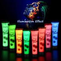 UV Face Paint- 8pcs x 28g UV Face and Body Paint Set, Luminous Body Painting, UV Glow Fluorescent Colors Body Paint Set Neon Liquid Face Paint, Perfect for Carnival, Party, Halloween