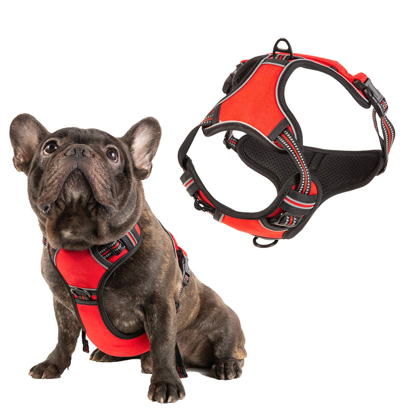 Petchron No Pull Dog Harness Adjustable Reflective Oxford Dog Vest with Easy Control Handle for Medium Dog(RED)