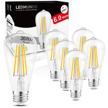 Dimmable Vintage LED Edison Bulbs, UL Listed, 95+ High CRI, 6W, Equivalent 60W, 750LM Warm White 2700K, ST58 Antique LED Filament Bulbs, E26 Medium Base, No Flicker, Clear Glass, Pack of 6