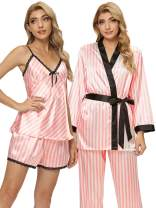 Arwser Women's Silk Satin Pajamas Set 4 Pcs Sleepwear Cami Top Pjs with Shorts and Robe