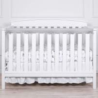 "TILLYOU 1-Pack Padded Baby Crib Rail Cover Protector Safe Teething Guard Wrap for Long Front Crib Rails(Measuring Up to 8"" Around), 100% Silky Soft Microfiber Polyester, Reversible, White/Pale Gray"