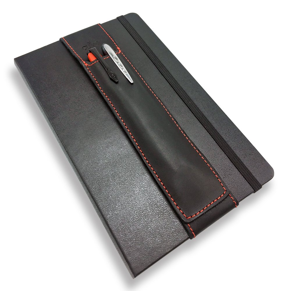 QUIVER Notebook Pen Holder   Elastic/Reusable/Non-Adhesive   for Hardcover Notebooks Like Moleskine/Leuchtturm1917/AmazonBasics Classic 8-8.5 Inches Tall (Black Leather/Red Stitching)