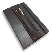 QUIVER Notebook Pen Holder | Elastic/Reusable/Non-Adhesive | for Hardcover Notebooks Like Moleskine/Leuchtturm1917/AmazonBasics Classic 8-8.5 Inches Tall (Black Leather/Red Stitching)