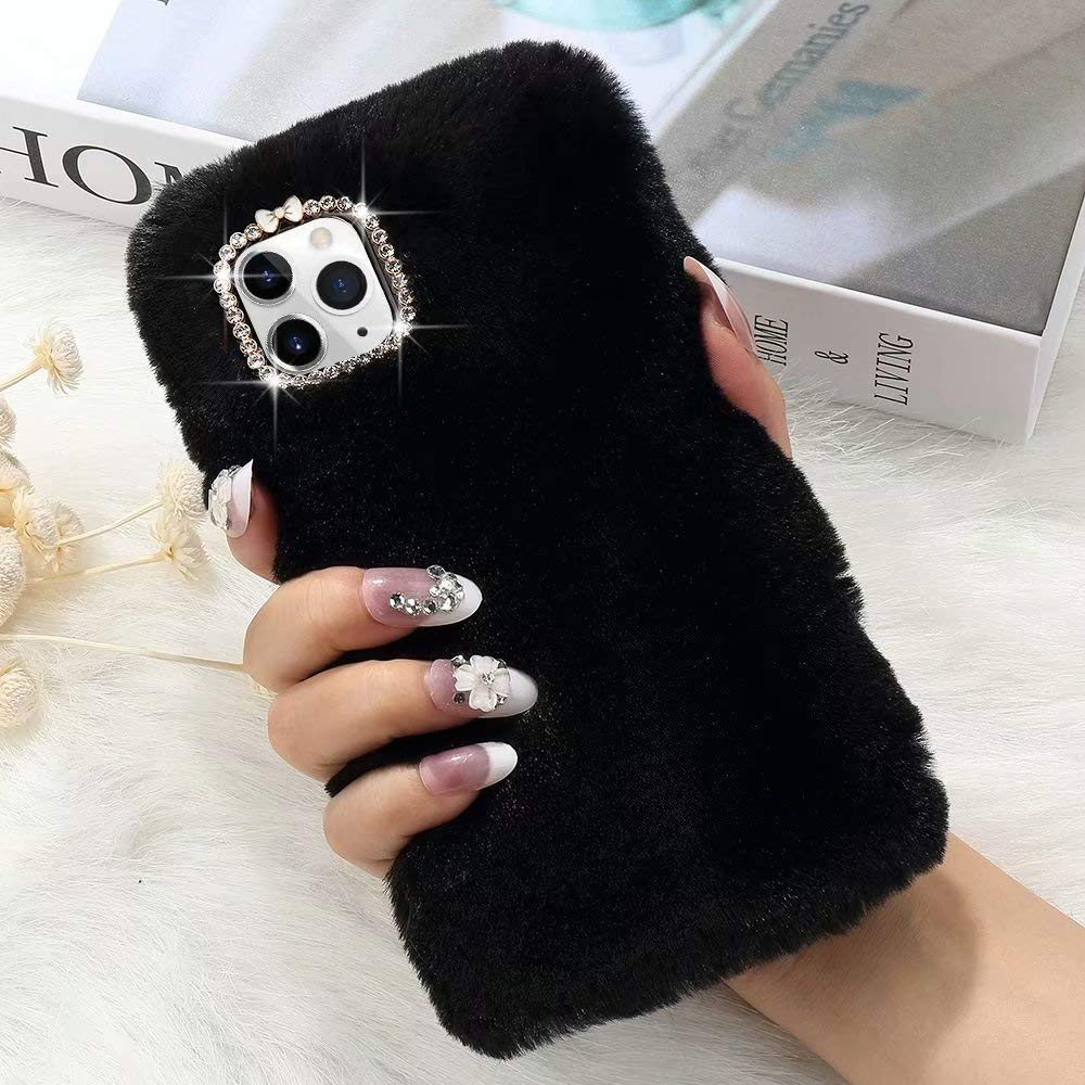 for iPhone 11 Pro Case Cute Girly Faux Fur Case with Chic Bling Crystal Diamond Bowknot Flexible Silicon Soft Fluffy Furry Shockproof Protective Phone Case for iPhone 11 Pro Black