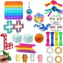 Komoo Fidget Toy 31Pcs Packs Cheap, Simple Dimple Fidget Toys Fidgets Box, Decompression Keychain Toy, Push Pop Bubble Sensory Toy for Kids and Adults (B)