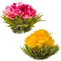 Blooming Tea Flowers - Pomegranate & Pineapple Flowering Teas – Hand-Tied Flowering Tea Balls - Each Tea Blossom Can Be Used Multiple Times (2-Pack)