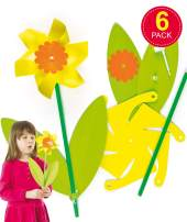 Daffodil Windmill Kits for Children to Play with. Easter & Spring Small Gift Idea for Boys & Girls  (Pack of 6)