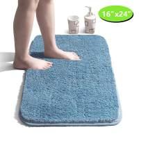 "Bathroom Rug Non Slip Bath Mat for Bathroom Water Absorbent Soft Microfiber Shaggy Bathroom Mat Machine Washable Bath Rug for Bathroom Thick Plush Rugs for Shower - Light Blue, 16""x24"""