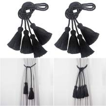 Porlau 4 Pack Curtain Tiebacks Rope Handmade Tassel Tie Backs Curtain Holdbacks for Office Home Decorative Drapery Tiebacks- Black