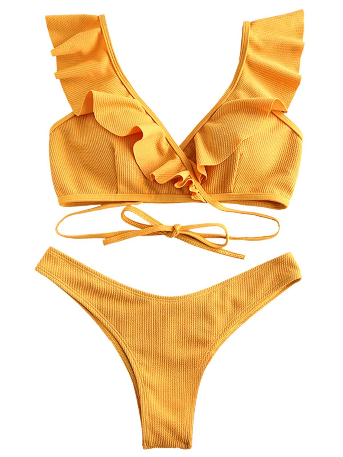 ZAFUL Womens Tie Knot Front Swimsuit High Waisted Bikini Sets Two Piece Swimwear Beachwear