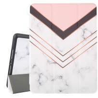 White Marble iPad 10.2 Case 2019 iPad 7th Generation Case with Pencil Holder, Pink Shockproof Case with Auto Sleep/Wake Feature for A2197 A2198 A2200