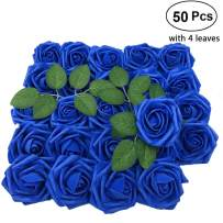 Lmeison Artificial Flower Rose, 50pcs Real Looking Blue Roses w/Stem for Bridal Wedding Bouquets Centerpieces Baby Shower DIY Party Home Decor