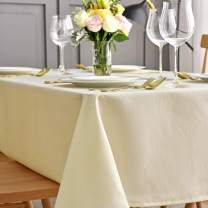 maxmill Jacquard Tablecloth Swirl Design Spillproof Wrinkle Free Oil Resistant Heavy Weight Soft Table Cloth Decorative Fabric Table Cover for Outdoor and Indoor Use Oblong 60 x 120 Inch Ivory