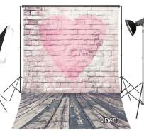 LB 5x7ft Rustic Wood Backdrop Love Heart White Brick Wall Vintage Backdrops for Photography Kids Birthday Valentines Party Portrait Photo Booth Studio Props
