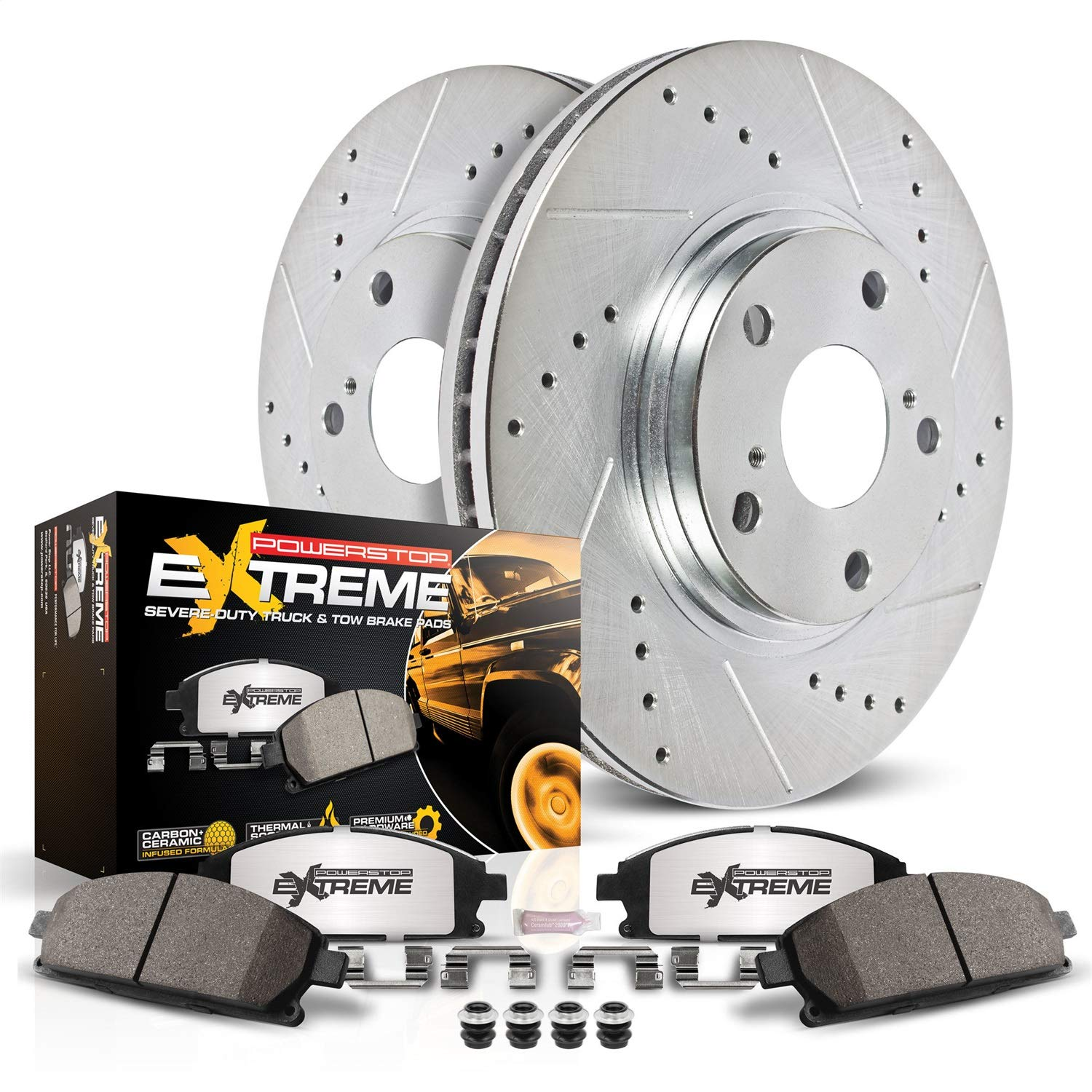 Power Stop K1869 Front Z23 Evolution Brake Kit with Drilled//Slotted Rotors and Ceramic Brake Pads