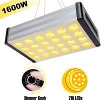 Kolem LED Grow Lights, 1600W Dimmable Full Spectrum Plant Lights for Indoor Greenhouse Hydroponic Plants Germination Veg Flowering(216pcs LEDs)