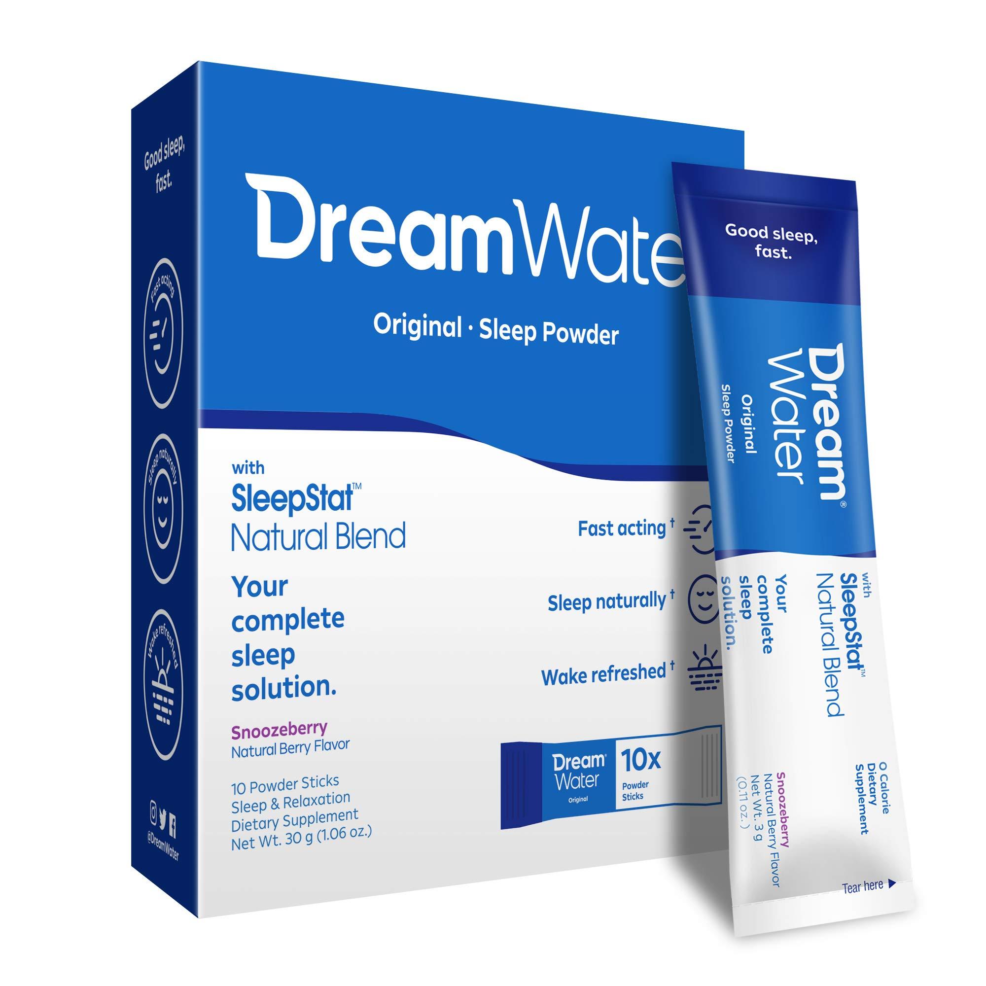 Dream Water Sleep Powder, Best Natural Sleep Aid, Melatonin, GABA, 5-HTP, Snoozeberry - 10 Count, Top Rated - Non-Habit Forming