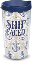 Tervis 1289199 Ship Faced Tumbler with Wrap and Navy Lid 16oz, Clear