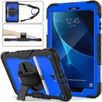 SEYMAC stock Galaxy Tab A 10.1 T580/T585/T587 Case, Shockproof Full-Body Rugged Armor Case with 360 Rotating Stand Pencil Holder [Screen Protector] Hand Strap for Samsung Tab A 10.1(Blue+Black)