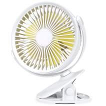 Aluan Clip On Fan Stroller Fan Rechargeable Battery Operated Portable Desk Fan Powerful 3 Speeds 360 Degree Rotatable Personal Fan for Baby Stroller Treadmill Golf Cart Home Office Table, White