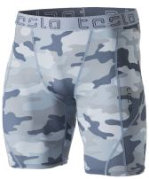 TSLA Men's Compression Shorts Baselayer Cool Dry Sports Tights, Athletic(mus17) - Camo Light Grey, Large.