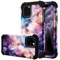 Fingic iPhone 11 Pro Case, iPhone 11 Pro Case 3 in 1 Heavy Duty Protection Hybrid Hard PC Soft Silicone Rugged Bumper Anti Slip Full-Body Shockproof Protective Case for iPhone 11 Pro 2019,Nebula Black