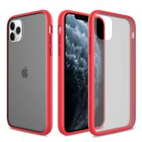 Elegant Choise for iPhone 11 Pro Max Case 6.5 Inch (2019) Support Wireless Charger Hybrid Clear Ultra Thin Slim Fit Frosted Translucent Shockproof Anti-Scratch Non-Slip Rugged Protective Cover (Red)