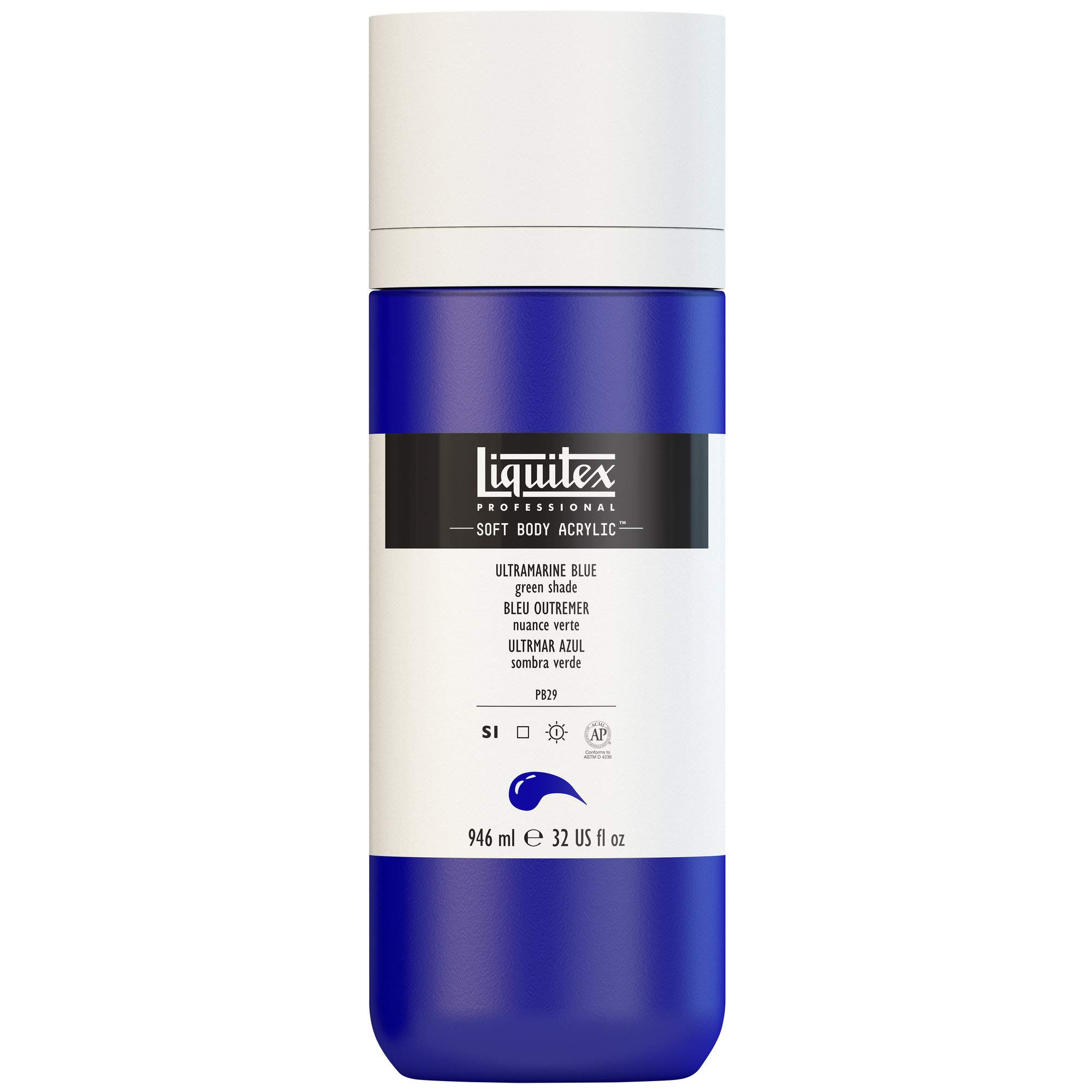 Liquitex Professional Soft Body Acrylic Paint 32-oz bottle, Ultramarine Blue (Green Shade)