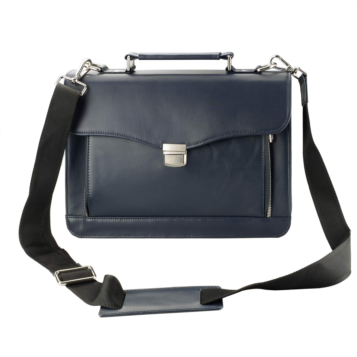 Executive Matte Leather Briefcase Bag with Handle, Strap and Organizer Panel (Dark Blue)