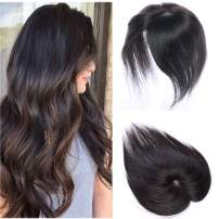 100% Real Human Hair Silk Base Top Hairpiece Clip in Hair Topper for Women Crown in Hand-made Toppee Middle Part with Thinning Hair Loss Hair #1B Natural Black 18''35g