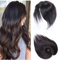 100% Real Human Hair Silk Base Top Hairpiece Clip in Hair Topper for Women Crown in Hand-made Toppee Middle Part with Thinning Hair Loss Hair #1B Natural Black 20''40g