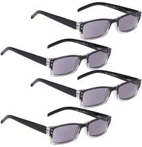 READING GLASSES 4 pack Include Sunshine Readers for Women and Men (GreyLens, 4.00)