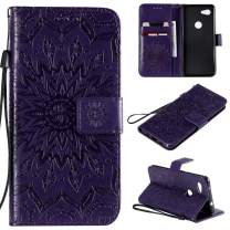 Cmeka 3D Sunflower Wallet Case for Google Pixel 3a XL with Credit Card Slots Holder Magnetic Closure Slim Flip Leather Kickstand Function Protective Case Purple