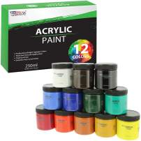 U.S. Art Supply 12 Color Acrylic Paint Jar Set 250ml Bottles Huge (8.45 fl oz Jars) - Professional Artist Bright and Vivid Opaque Colors