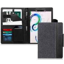 "Toplive Portfolio Case Padfolio, Executive Business Document Organizer with Letter Size Clipboard, Business Card Holder, Tablet Sleeve(Up to 10.5"" Tablet), for Business School Office Conference, Black"