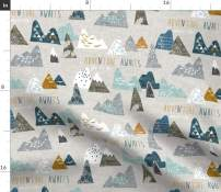 Spoonflower Fabric - Boho, Baby, Mountain, Adventure, Geometric, Blue, Nursery Printed on Basketweave Cotton Canvas Fabric by The Yard - Upholstery Home Decor Bottomweight Apparel