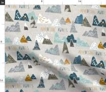 Spoonflower Fabric - Boho, Baby, Mountain, Adventure, Geometric, Blue, Nursery Printed on Modern Jersey Fabric by The Yard - Fashion Apparel Clothing with 4-Way Stretch