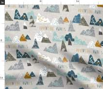 Spoonflower Fabric - Boho, Baby, Mountain, Adventure, Geometric, Blue, Nursery Printed on Minky Fabric by The Yard - Sewing Baby Blankets Quilt Backing Plush Toys