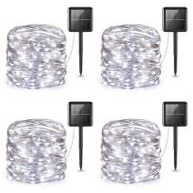 AMIR Upgraded Solar String Lights, 4 Pack 33ft Mini 100 LED Outdoor String Lights, Waterproof 8 Lighting Modes Solar Decoration Lights for Garden, Patio, Home, Party (White)