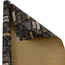 JAM PAPER Gift Wrap - Christmas Kraft Wrapping Paper - 25 Sq Ft - Black Kraft Ho Ho Ho - Roll Sold Individually