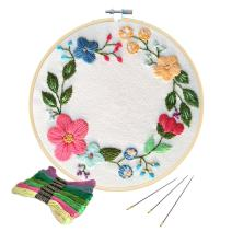 Unime Full Range of Embroidery Starter Kit with Partten, Cross Stitch Kit Including Embroidery Cloth with Color Pattern, Bamboo Embroidery Hoop, Color Threads, and Tools Kit (Floral Hoop)