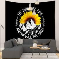 """Grace Store Sunflower Mountain Tapestry Black and Yellow Flower Tapestry Quotes Wall Tapestry for Bedroom, 59""""x51"""""""