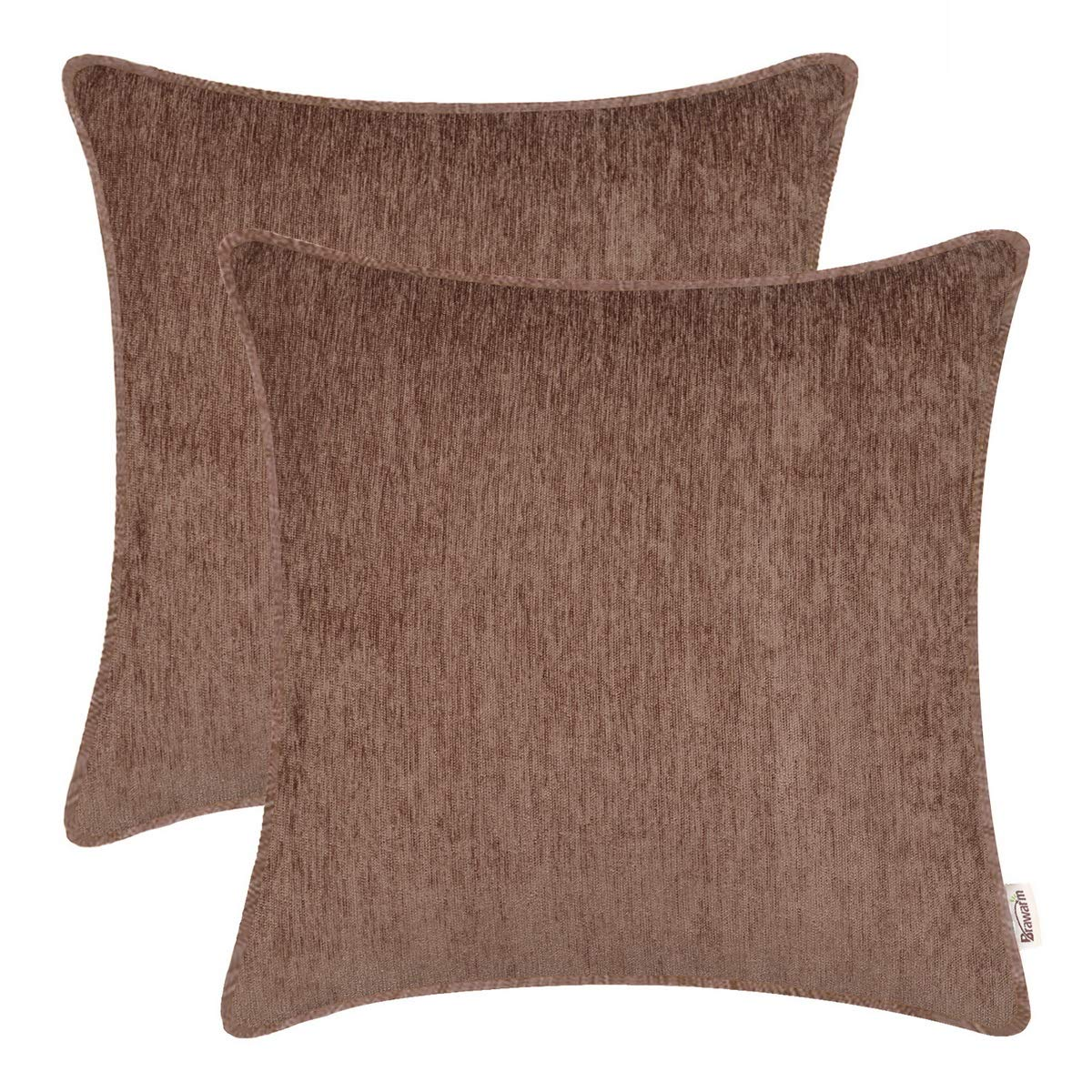 BRAWARM Pack of 2 Cozy Throw Pillow Covers Cases for Sofa Couch Home Decoration Solid Dyed Striped Soft Chenille with Piping 20 X 20 Inches Light Taupe